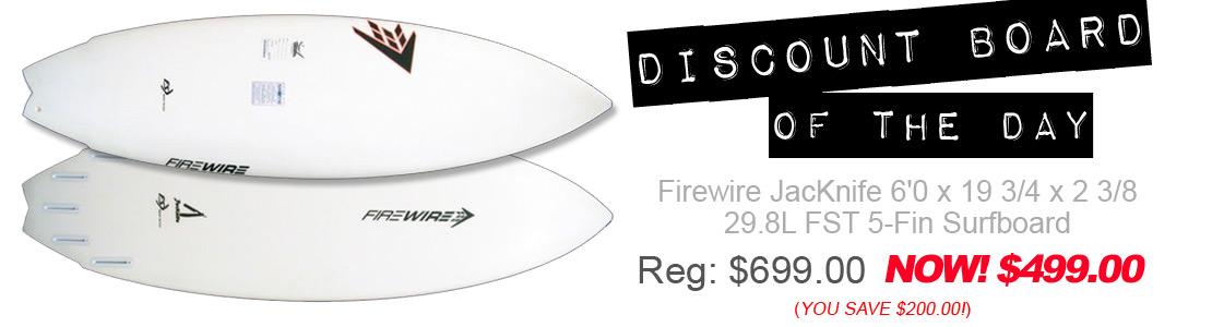 Firewire JacKnife 6'0 x 19 3/4 x 2 3/8 29.8L FST 5-Fin Surfboard